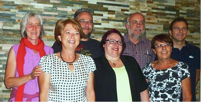 Von links: Manuela Meinhardt, Heidi Henning, Marc Schenk, Tamara Senft, Klaus Pracht, Cornelia Fuchs und Joachim Sauer